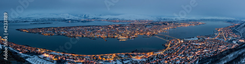 Panorama Tromso in Norway at night