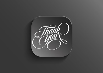 Thank you-Words on black vector button
