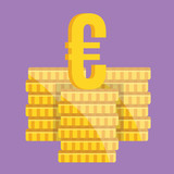 Vector Coin Stacks and Euro Sign Icon