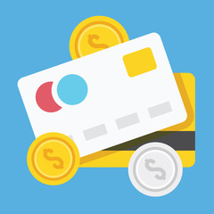 Vector Credit Cards and Coins Icon