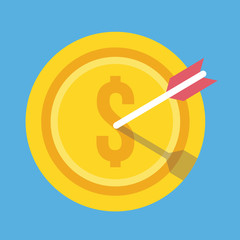 Vector Gold Coin and Arrow Icon Successful Business Concept