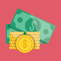 Vector Gold Coin Stacks and Dollar Bills Icon