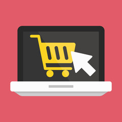 Vector Laptop Buy Online Icon Ecommerce Concept
