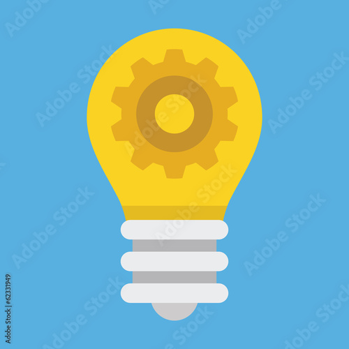 Vector Light Bulb and Gear Icon
