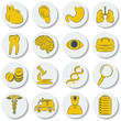 A set of flat round icons on medical subjects. Yellow and white