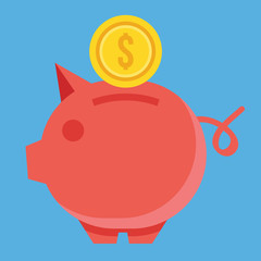 Vector Piggy Bank and Gold Coin Icon