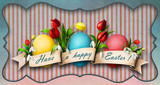 Greeting card or banner Easter with eggs, flowers and banner