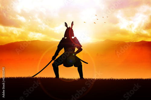 Silhouette illustration of a samurai general