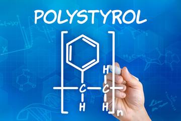 Hand zeichnet chemische Strukturformel von Polystyrol