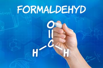 Hand zeichnet chemische Strukturformel von Formaldehyd