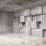 Abstract concrete 3d interior with cubes on the wall