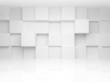Fototapety Abstract 3d architecture background with white cubes on the wall
