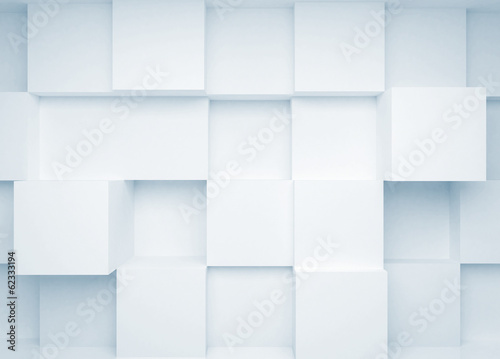 Abstract 3d background with white cubes on the wall