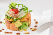 Smock salmon and avocado salad