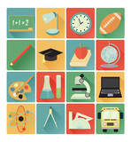 flat icons education set