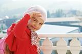 kind auf dem balkon poster