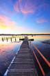 Summer sunset jetty and pool Yattalunga Australia