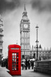 roleta: Red telephone booth and Big Ben in London, England, the UK.
