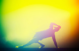 Fototapety Hip hop, break dance performed by young man in club lights