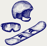 Set equipment for snowboarding. Doodle style
