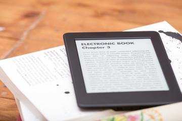 Close up of an e-book reader