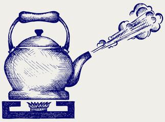 Tea kettle on gas stove. Doodle style