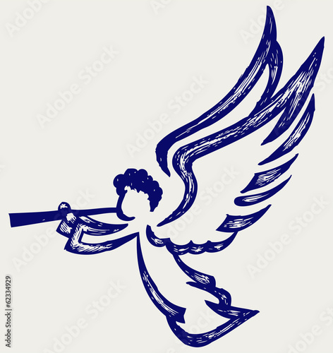 Angel with trumpet. Doodle style