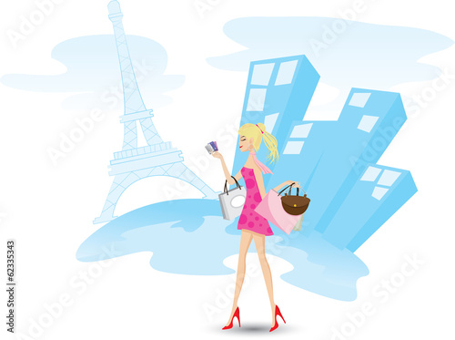Girl is shopping with credit cards in Paris