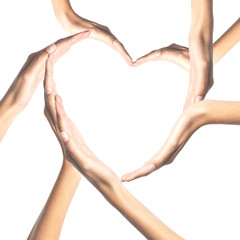 Human hands in heart shape isolated on white background