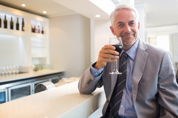 Mature businessman with wine glass at bar counter