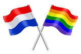 Flags: the Netherlands and Rainbow