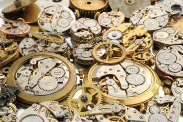 Pile of watches parts