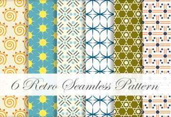 Six in One Retro Seamless Pattern on Classic Style