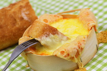 Baked cheese, close up