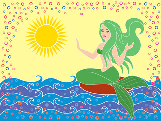 Mermaid on the sea waves