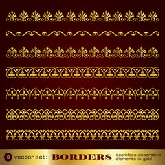 Borders seamless decorative elements in gold set 3