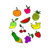 Hand draw Mix fruit vector