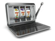 Online gambling concept. Laptop slot machine