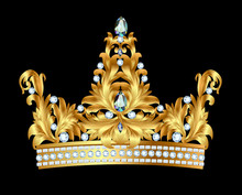 Kunglig guldkrona med juveler