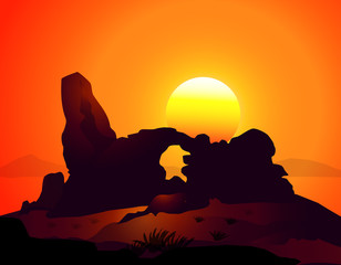 Sunset on Natural Arches in Arizona-Vector