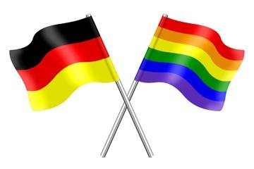 Fahnen: Deutschland und der Regenbogen
