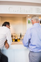 Business colleagues with beer glasses at bar counter