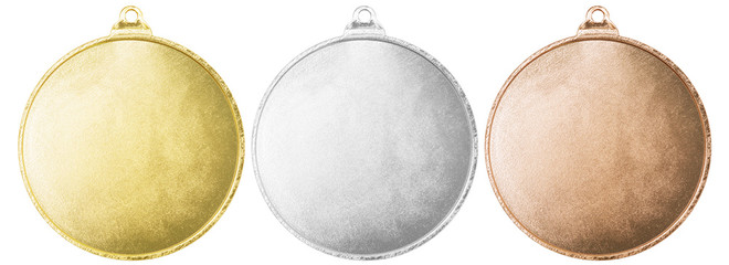 Gold, silver and bronze blank medals set isolated with clipping