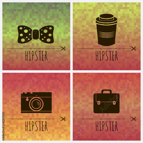 Geometric backgrounds and silhouettes of hipster accessories