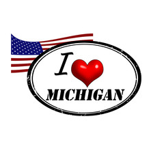 Grunge stamp with text I Love Michigan inside and USA flag