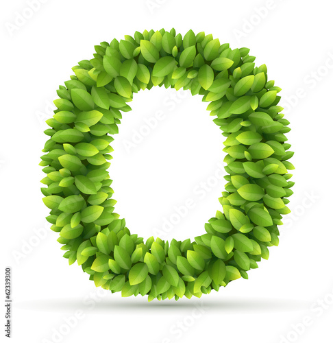Letter O,  vector alphabet of green leaves