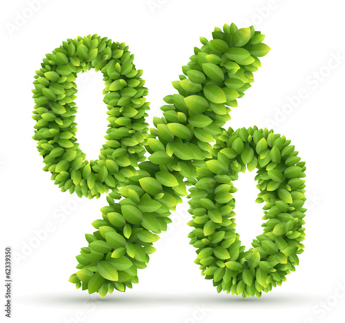 Percent sign, vector alphabet of green leaves
