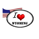 Grunge stamp with text I Love Wyoming inside and USA flag