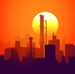 Sunset & Factory-Vector