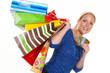 Frau mit Einkaufstaschen beim Shopping